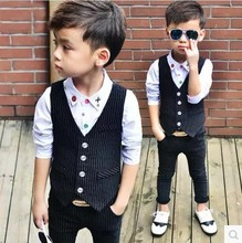 Children Performance Clothes Brand Boys Formal Suits Wedding Birthday Party Pant Kids Blazer Vest + pants 2 piece(China)