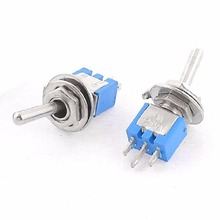 10pcs/Lot Blue SPDT Latching On/On 2 Position Switches Electric Miniature Toggle Switch AC 125V/3A For Switching Lights Motors(China)