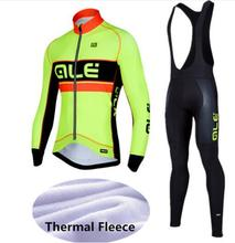 Winter Thermal Ale Cycling Clothing 2017 Men Fleece Jersey Bike Bicycle suits Cycling Kit Green Yellow Red Blue Ropa Ciclismo(China)