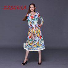 S-XL Retro floral printed designer O neck slim expansion dresses vestido 2017 new nice women's dresses 072301