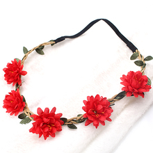 M MISM Candy Color Flower Headband Women Wedding Floral Hair Band Boho Style Princess Wreath Headpiece Elastic Headdress(China)