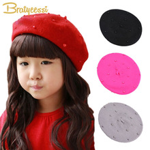 Fashion Woolen Children Girls Cap with Pearls Candy Color Retro Baby Beret Hat for 3-8 Years 1PC(China)