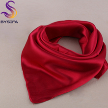 Solid Color Silk Scarf Female Summer All-match Single Nude Color Small Scarf Silk Scarf 60*60cm New Design Solid Square Scarves