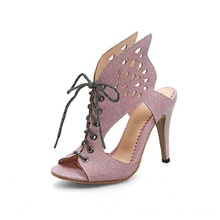 2017 summer new hollow wings shape large size female sandals(China)
