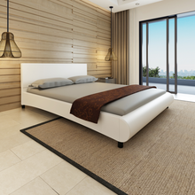 iKayaa modern design Bed artificial leather solid wood bedroom furniture  home furniture White ES Stock 200 x 160 cm