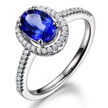 Tanzanite Diamond Ring For Women 9K Solid White Gold Simulated Diamond Engagement Wedding Ring Blue Gemstone Ring Jewelry
