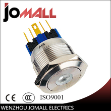 GQ22-11DZ 22mm Latching LED light Dot type stainless steel push button switch with flat round