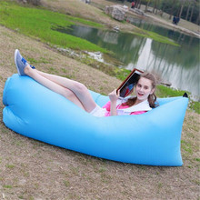 Outdoor Furniture Inflatable Lounger 210T Plaid Fabric Air Sleep Sofa Air Couch Convenient Compression Air Bag