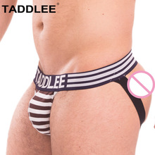 Buy Taddlee Brand Sexy Mens Jock Straps Underwear Boxer Brief Bikini Gay Penis Cotton Men Backless Buttocks Jockstraps Thong Strings