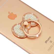 Luxury Rhinestone Bowknot Jewelry Display Rings Hook Stand Cell Phone Ring Holder 360 Degree Rotating for Samsung iphone Huawei(China)