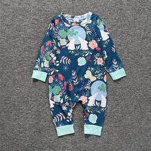 Children Clothing Rabbit Moon Printing Infant Clothes Climbing Suit boy &girl soft confortable climbing suits(China)