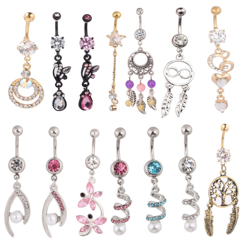 Belly button rings dangle