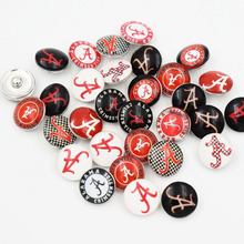 50 PCS Mixed Alabama Crimson Tide NCAA Glass Snap button Jewelry Charm for Snap Bracelet Necklace Ring Jewelry(China)