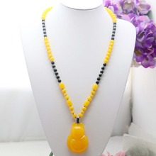 Prevalent Yellow beads Necklace Accessories Necklace Sweater chain Dress Adornment Costume Accessories bling Pendant Jewelry(China)