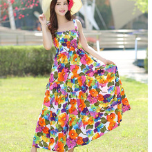 Summer Dress 2017 Fashion Bohemian Vintage Printed Flowers Dress Sleeveless Strapless Party Dresses Vestidos