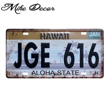 [ Mike86 ] JGE 616 HAWAII Aloha State Metal SIGN Home Bar Office Wall Painting Craft Souvenir D-589 Mix order 30*15 CM