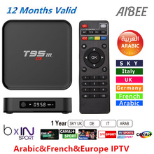 Best hot 1 Year Europe French Arabic ITALY IPTV BOX Quad Core S905x T95M Android 6.0 4K TV Box T95M 1000 Live TV Canal plus WIFI
