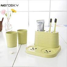 Zerosky toothbrush holder set + 2 tooth brush mug storage cups with tray decorative Bathroom shelf Home use(China)