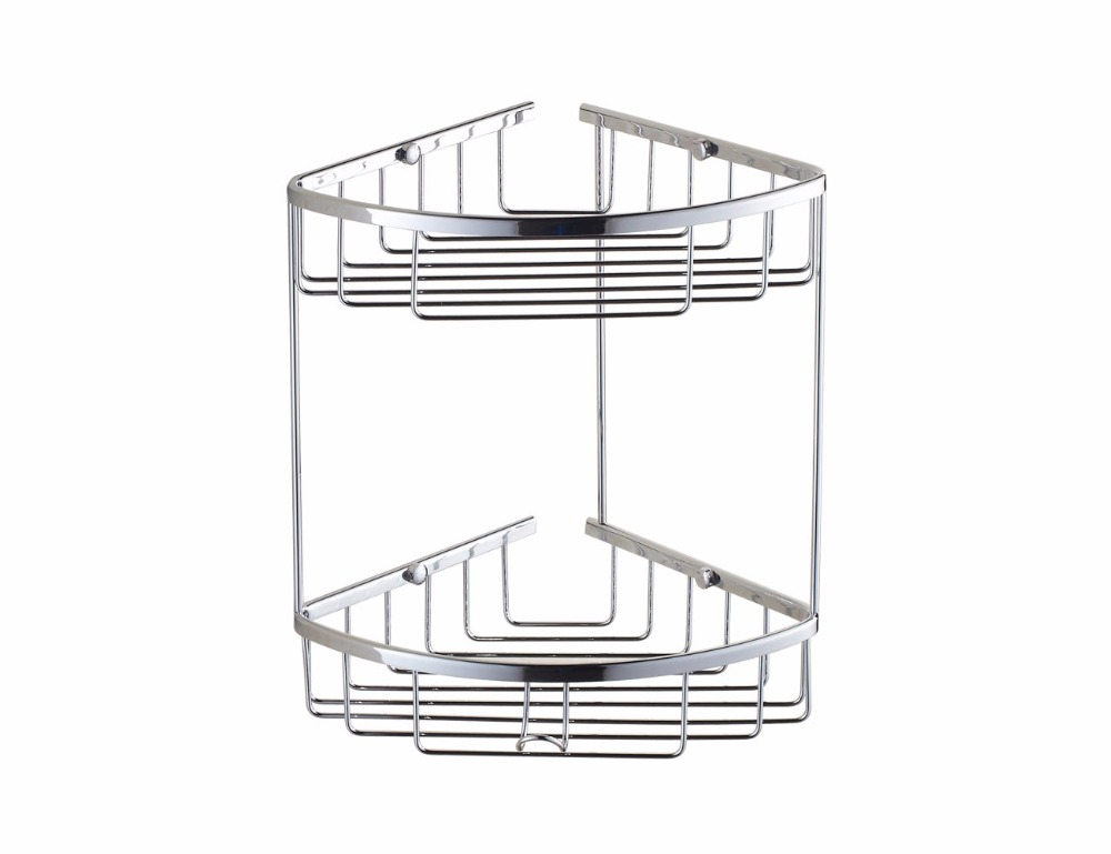 Xogolo Bathroom 2-Tier Corner Shelf Basket with Towel Hook, NO8099, Solid Brass Wall-Mounted, Polished Chrome Finished<br><br>Aliexpress