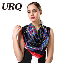 Chinese style 90*90 Big Satin bandana Scarf Woman soft Square Scarves luxury lady Head scarf Hijab S9A9643(China)