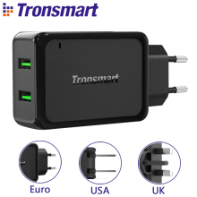 Tronsmart W2TF Two USB Ports Qualcomm Certified Quick Charge 3.0 USB Charger VoltiQ Fast Phone Wall Charger Adapter [EU US UK](China)