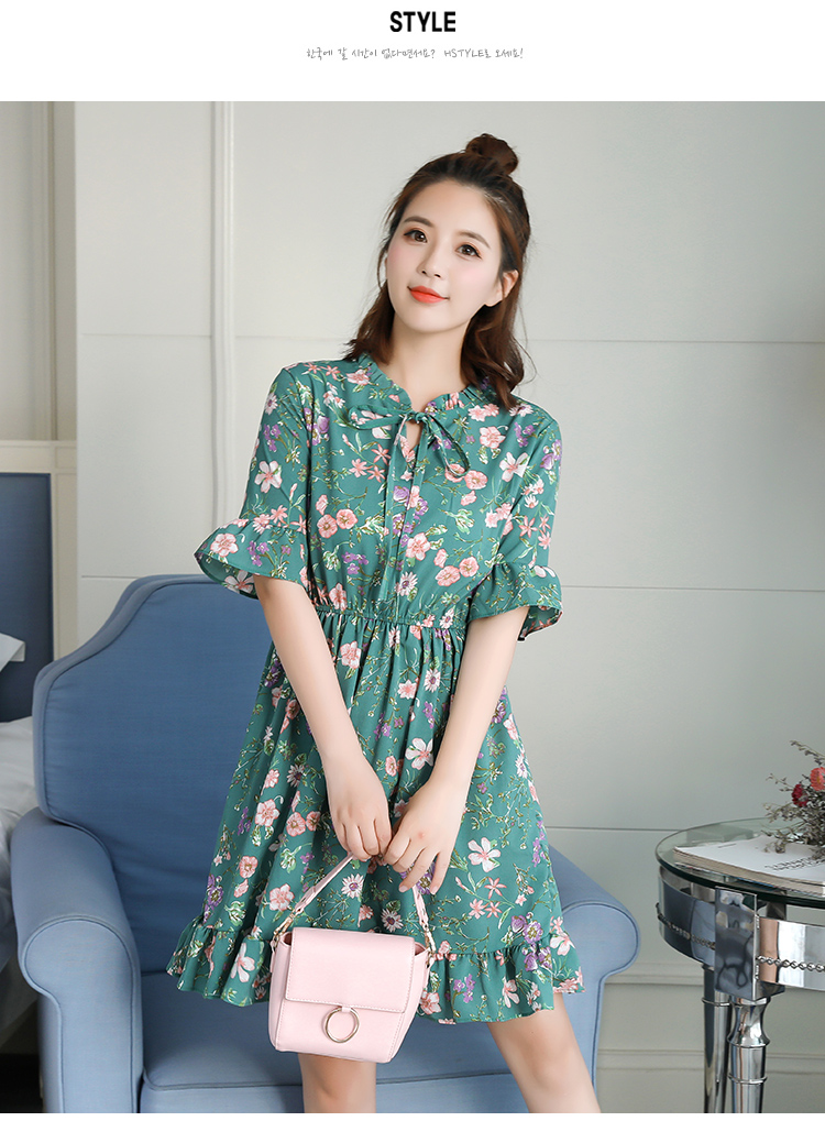 2018 Free Shipping New Fashion Floral Chiffon Summer Dresses Sweet Thin Word Slim Women Work Wear Print Dress Casual Cute Hot 7
