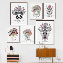 Modern Indian Animals Head Deer Horse Zebra A4 Poster Hippie Feather Wall Art Picture Nordic Home Decor Canvas Painting No Frame