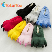 ToLaiToe Free Shipping Funny Animal Paw Slippers Cute Monster Claw Slippers Cartoon Slipper Warm Soft Plush Winter Indoor Shoes(China)