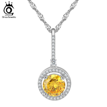AAA Grade 2 ct Yellow Round CZ Pendant Necklace for Women Micro Paved Clear CZ Fashion Jewelry Wholesale ON93