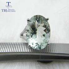TBJ,Big 11ct green amethyst Ring, oval cut13*18 gemstone ring in 925 sterling silver gemstone jewelry for girls with gift box