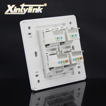 xintylink rj45 jack modular 4 Ports rj12 rj45 Socket cat5e cat6 Keystone Wall Faceplate toolless wall socket panel 86mm(China)