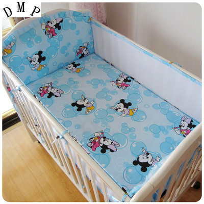 Promotion! 5PCS Mesh Cartoon Crib Baby Bedding Crib Bumper Set Detachable Baby Bed Sets (4bumpers+sheet)