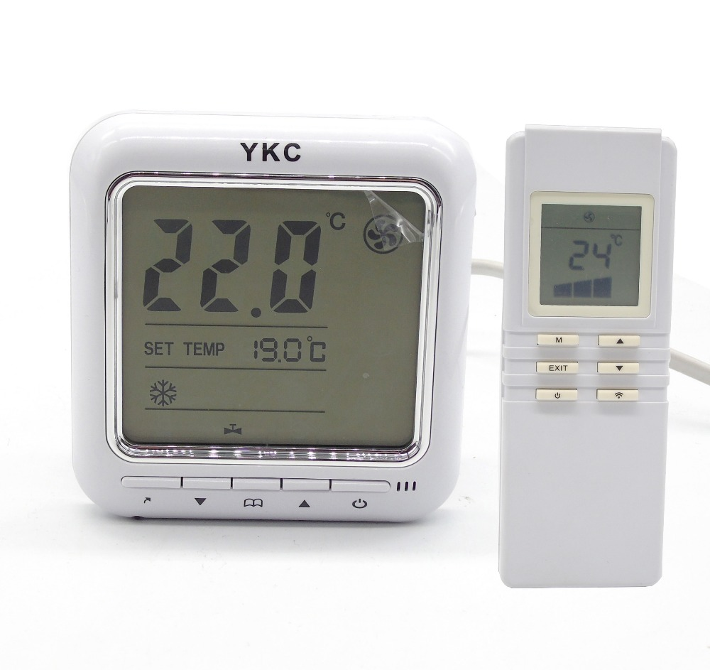 Timer off Infrared remote Fan Coil Units Thermostat with control 2-3 line valves<br><br>Aliexpress