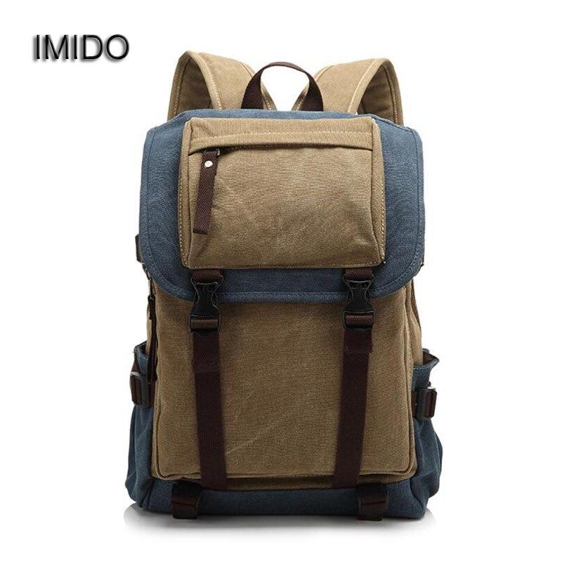 IMIDO Mans Canvas Backpack Travel Schoolbag Male Backbag Men Large Capacity Rucksack Shoulder Laptop Bag Mochila Escolar SLD025<br>