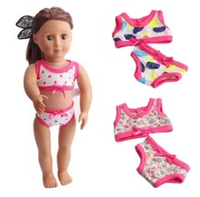 2 Pcs/Set 18 Inch American Girl Doll Clothes Children Girl Dress Up Barbie Doll Underwear Suit Fashion Doll Swimsuit Ingbaby