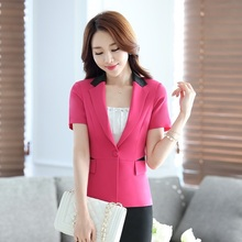 Summer Fashion Casual Ladies Blazer Women Outerwear Jackets Short Sleeve Female Work Wear Business Clothes Office Uniform Styles