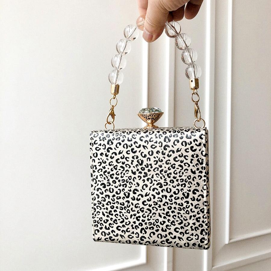 Leopard Print Mini Box Handbag Women New Korean Beading Clip Small Square Evening Shoulder Messenger Bag Female Diamonds Purse