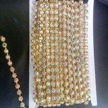 8mm cup chain rhinestones  GOLD plating ab crystal  10 yards per roll ;shiny design wearing accessory free shipping