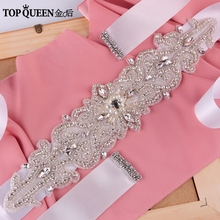 TOPQUEEN S26 Crystal Rhinestones Evening Party Gown Dresses Accessories Wedding Belts Sashes,Bride Waistband Bridal Sashes Belts(China)