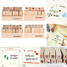 12Pcs/set Wooden Rubber Stamps 4 Styles Cute Cartoon Stamps for DIY Scrapbooking Diary Card Decorative Stamp Embosser(China)