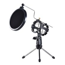 KEXU Black Desktop Microphone Stand Table Plastic Mini Mic Clip Tripod Holder with Pop Filter Double Mesh Screen Micro Tripod