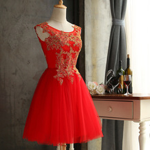 Red Lace Women Dress Robe Demoiselle D'honneur Real Image Appliques Lace Short Bridesmaid Party Dresses