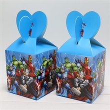 6pcs/lot Cartoon Avenger Paper Candy Box Sweet Gifts Boy Kids Birthday Party Decoration Chocolate Boxes Souvenir Bag Supplies