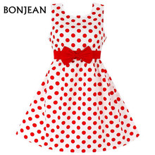 Hot Sale Fashion Christmas Super Bow tie girls dresses for party wedding Dot print Princess Kids Dress Children's Clothing