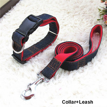 Hot Sale 120cm Long Fashion Denim & Nylon Rope Dog Leash Black/Red/Blue Jean Puppy Dog Collar/Harness+Leash Sets Pet Products