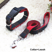Hot Sale 120cm Long Fashion Denim & Nylon Rope Dog Leash Black/Red/Blue Jean Puppy Dog Collar/Harness+Leash Sets Pet Products(China)