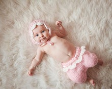 free shipping,new Baby Crochet Beanie, baby pink pixie hat with pants sets Newborn Photo photography prop size:0-1m,3-4m