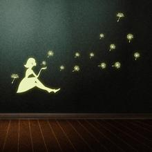 KAKUDER Luminous Wall Sticker Dandelion Girl Living Room Bedroom Decoration Glow in the Dark DIY Removable Happy Sale ap425(China)