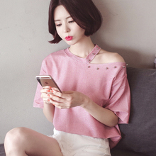 Bright silk beading shirts women 2017 summer slash neck shiny fabric tops female fashion sexy blouses tees pink kpop gold chic