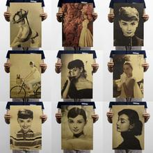 1pc mini Audrey Hepburn wall decor vintage poster collection nostalgic retro kraft paper poster painting s2